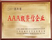 天晟荣获AAA级资信企业称号
